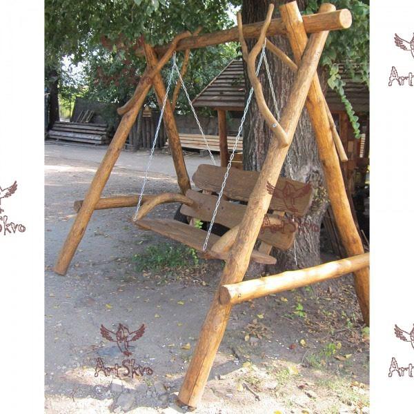 Купить садовые качели из дерева